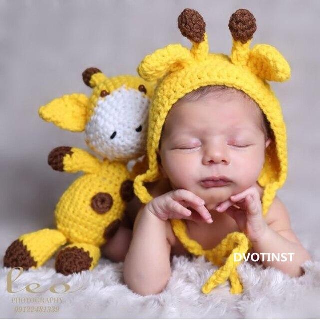 Dvotinst Newborn Photography Props Giraffe Hat+Doll 2pcs Set Crochet Knit  Fotografia Accessories Studio Shoot 9902aedd7b2