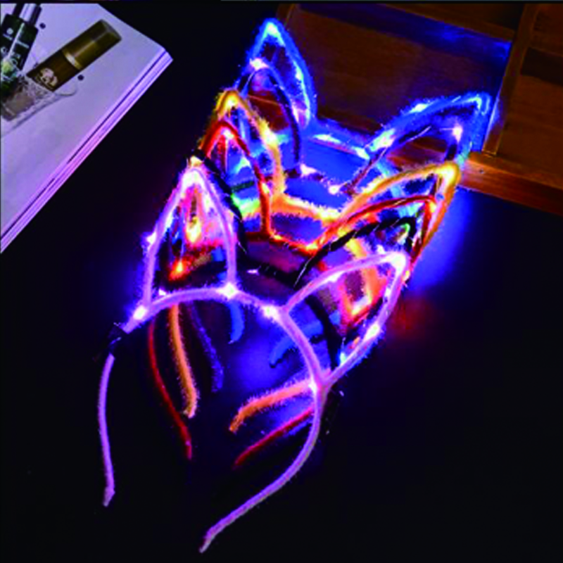 LED Light Up rabit Headband Party Glowing Supplies Women Girl Flashing Hair Accessories football fan concet