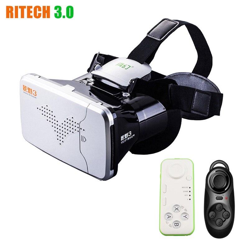 <font><b>RITECH</b></font> III <font><b>VR</b></font> <font><b>Virtual</b></font> <font><b>Reality</b></font> 3D <font><b>Glasses</b></font> Headset Head Mount VRBOX <font><b>Max</b></font> Google Cardboard Movie Game + Bluetooth Remote Controller