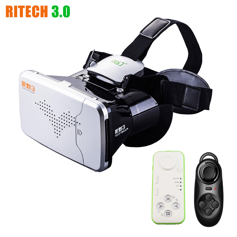 RITECH III VR Virtual Reality 3D Glasses Headset Head Mount VRBOX Max Google Cardboard Movie Game + Bluetooth Remote Controller