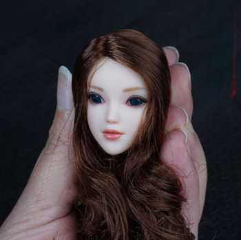 1/6 scale Female Girl Head with Brown Long Hair Movable Eyes Pale Color for 12 Inches Woman Action Figure Bodies - DISCOUNT ITEM  26 OFF Toys & Hobbies
