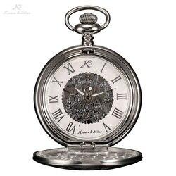 KS الرجعية الهيكل العظمي روما أرقام الفضة الحرفية الجوف قلادة حالة Steampunk ساعة جيب سلسلة اليد الرياح الميكانيكية ساعة/KSP030