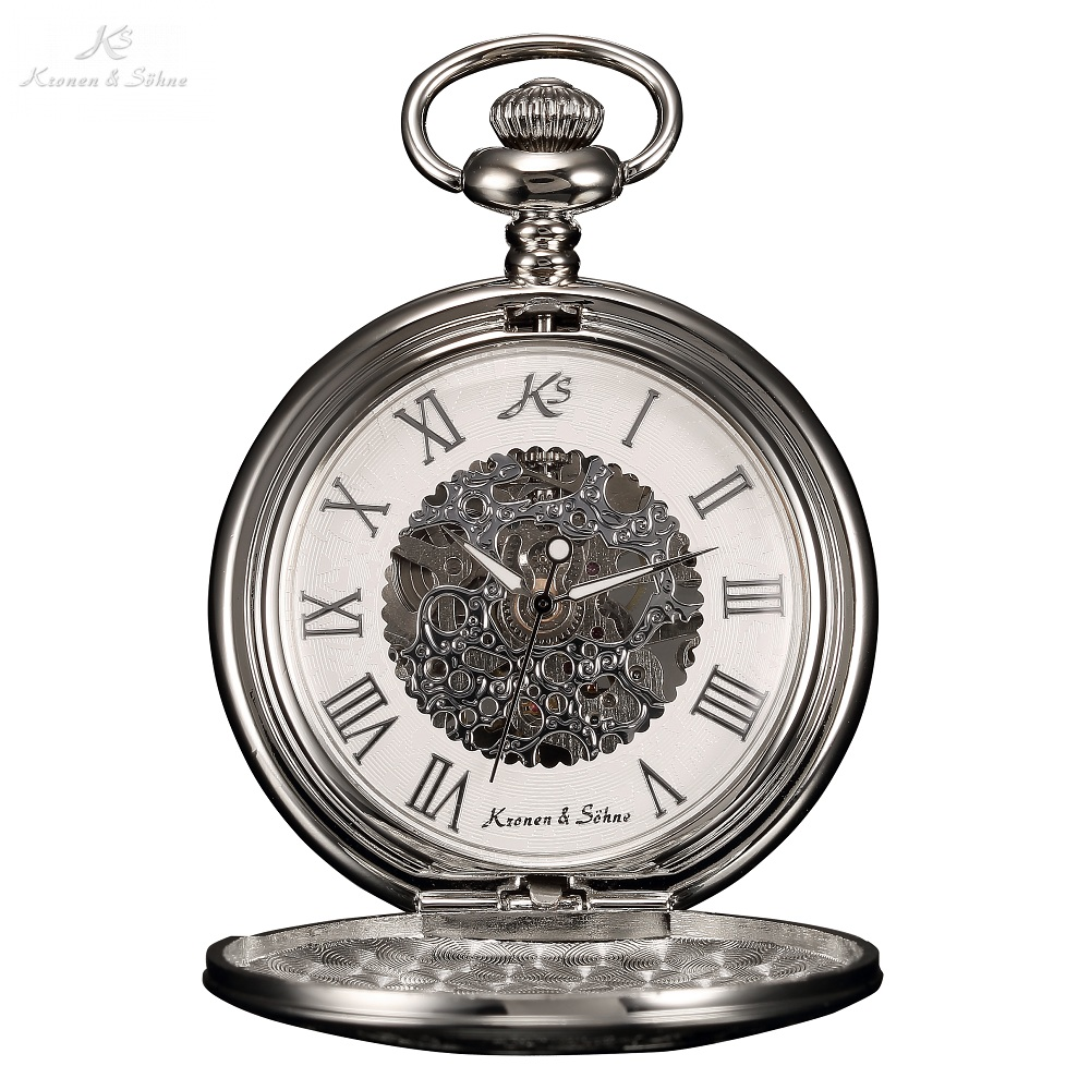 KS Retro Szkielet Rzym Numery Srebrny Craft Hollow Case Wisiorek Steampunk Pocket Watch Łańcuch Ręcznie Wiatr Mechaniczny Zegarek / KSP030