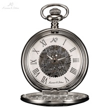 лучшая цена KS Vintage Skeleton Rome Numbers Dial Silver Alloy Case Steampunk Necklace Pocket Watch Men Hand Wind Mechanical Watch / KSP030