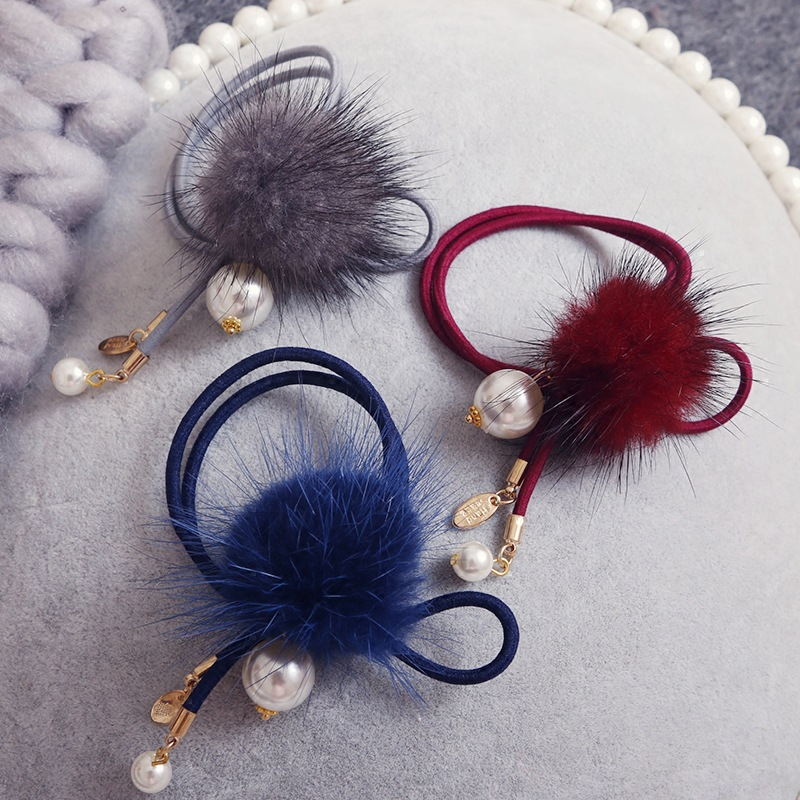 Faux Rabbit Fur Pompom Elastic Hair Bands Rope Women Girls Hairball Hair Ties Accessories Ponytail Holder Scrunchy m mism new arrival korean style girls hair elastics big bow dot flora ponytail rubber hair rope hair accessories scrunchy women