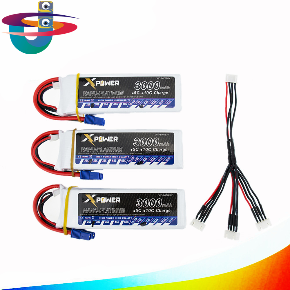 11.1v 3s 3000mAh lipo battery 30C max 35C EC3 with 3in1 cable for RC drone Helicoptes Airplane parts 3pcs battery and european regulation charger with 1 cable 3 line for mjx b3 helicopter 7 4v 1800mah 25c aircraft parts