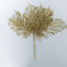 6 веток искусственные Серебристые золотистые блестящие Порошковые ветви имитация растений цветок рождественские вечерние украшения для дома 49 см