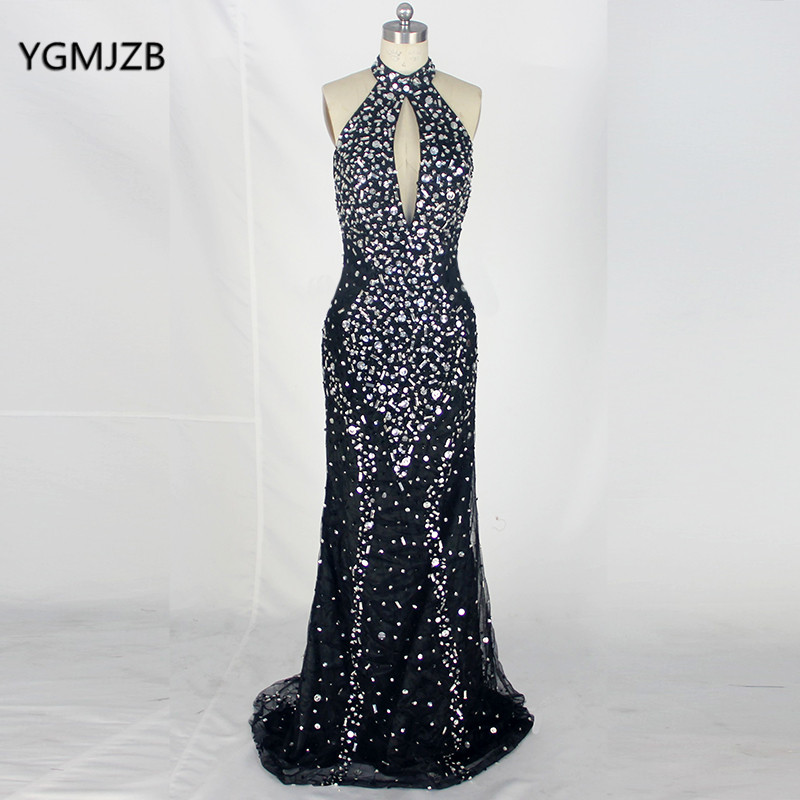 Luxury   Prom     Dresses   Long 2018 Mermaid O Neck Beaded Crystals Backless Floor Length Black African Formal Evening Gowns