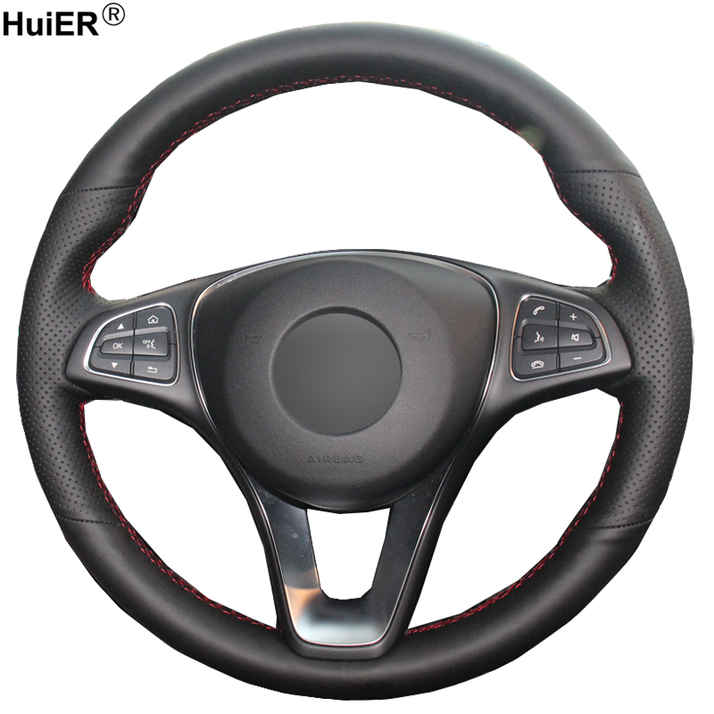 HuiER Hand Sew Car Steering Wheel Cover Black Leather For Mercedes-Benz C180 C200 C260 C300 B200 Steering-wheel Car Styling