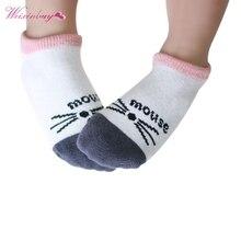 Носки для маленьких мальчиков и девочек хлопковые Лоскутные Носки с рисунком усов и мышек для новорожденных
