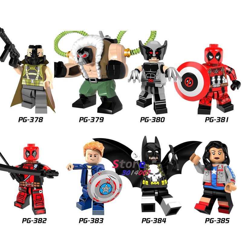 Tek süper kahraman Bane rakam Wolverine Deadpool bayan amerika kaptan Batman yapı taşları modelleri tuğla oyuncaklar çocuklar için