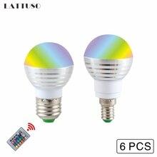 LATTUSO 6Pcs LED RGB Bulb Lamp E27 E14 AC110V 220V Spot light 85-265V magic lighting+IR Remote Control 16 colors