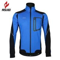 Arsuxeo ветрозащитный Водонепроницаемый цикла Джерси с длинным рукавом пальто зима теплая флисовая Термальность Велоспорт куртка велосипед В...