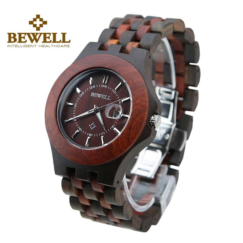 ФОТО BEWELL Men 100% Natural Ebony Watch Calendar Life Waterproof  Watch Business Japanese Quartz Movement Wristwatch 080A
