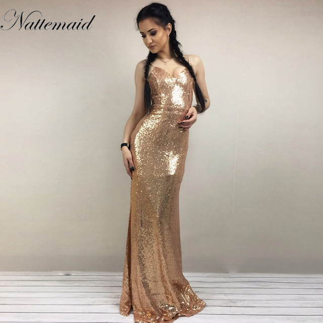 Nattemaid 2017 Christmas Night Party Dress Y Women Gold Sequin Long Dresses Floor Length Backless Maxi