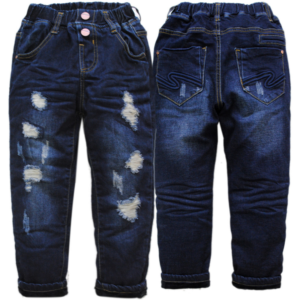4070 winter kids jeans boys hole jeans pants warm children trousers Double deck thick denim and fleece elastic waist