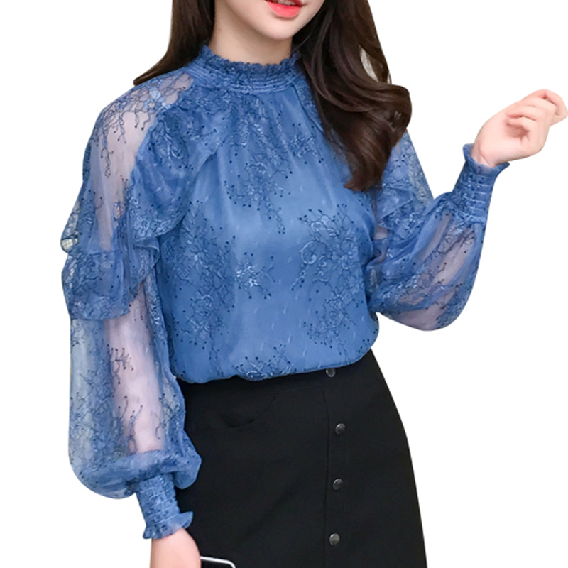 2019 spring Women Blouses Chiffon Shirt transparent Long Sleeves Lace hollow out flower embroidery Female Tops Blusa 603J3 in Blouses amp Shirts from Women 39 s Clothing