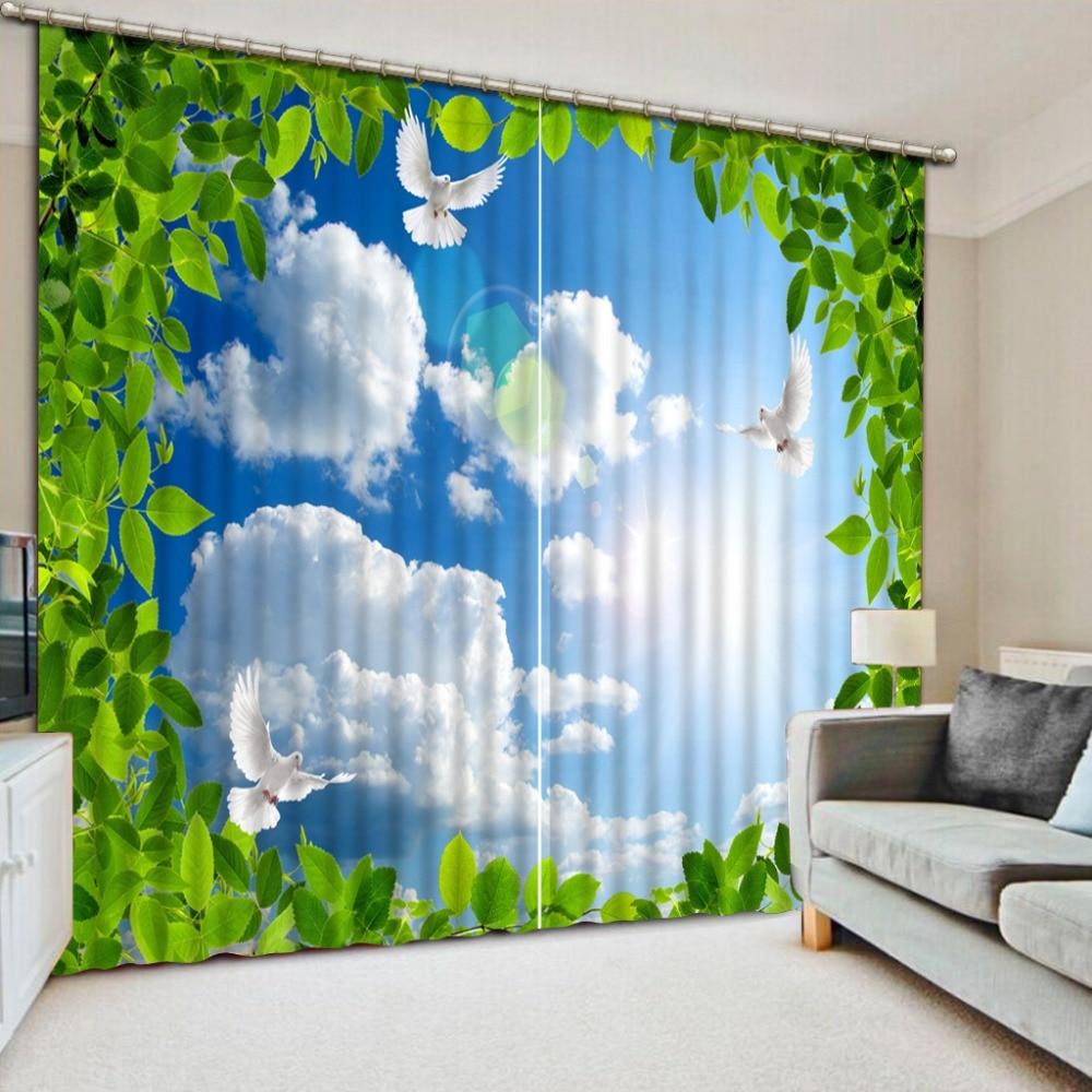 Белые облака дерево печать 3D затемненные шторы для гостиной постельные принадлежности комнаты шторы Cotinas para sala