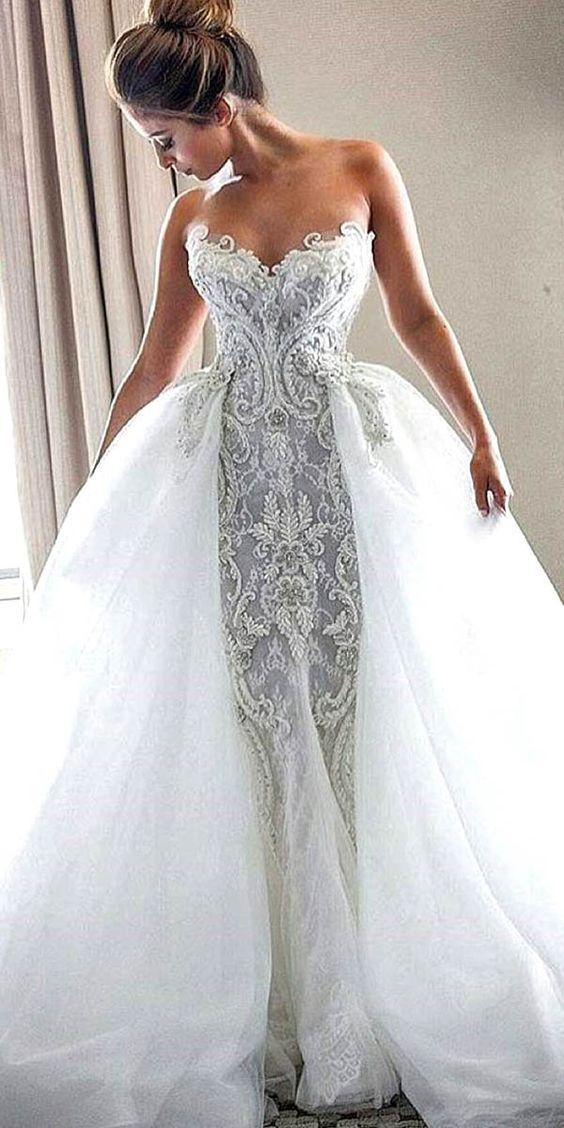 Xh 71 luxury sheath sweetheart wedding dresses 2017 bridal for Detachable train wedding dresses