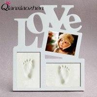 Qianxiaozhen 6 Inches Love Baby DIY Handprint Footprint Photo Frame Baby Frame Nontoxic Fingerprints Inkpad Baby Shower Souvenir