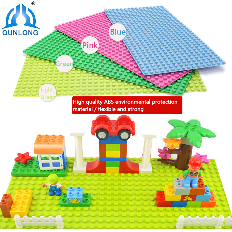 Qunlong Duplo Big Bricks Base Plate 4 Colors Baseplate DIY Building Blocks Compatible Legoe Duple Toy Baseplate For Children new big size 40 40cm blocks diy baseplate 50 50 dots diy small bricks building blocks base plate green grey blue