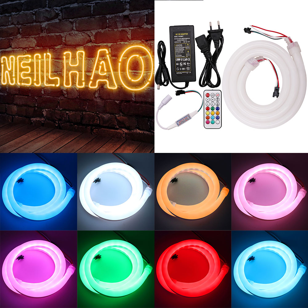 Programmable Addressable LED Strip Light WS2811 WS2812 Waterproof 5050 RGB LED Neon Rope Tape Lamp 12V 5A Power Adapter 1M 2M 5M