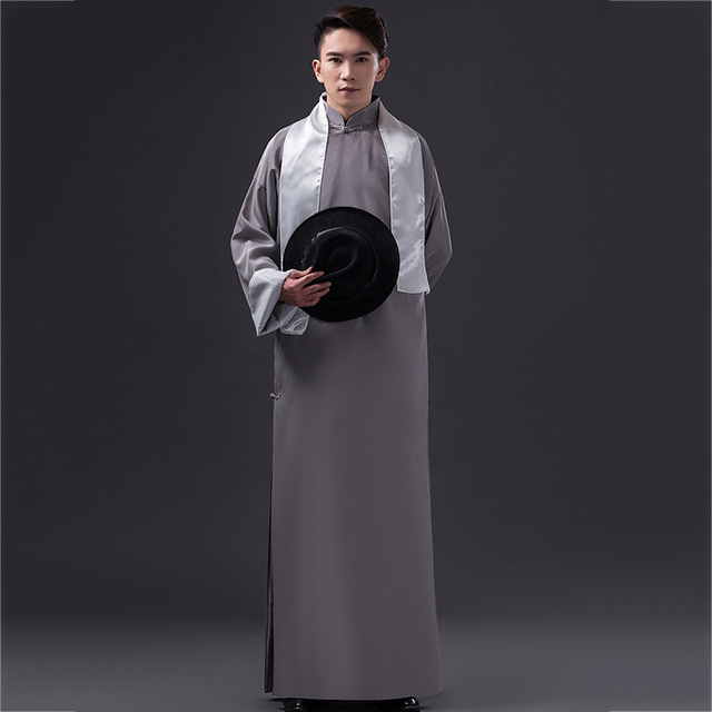 Muslim Dress Men Gray Long Robe Long Sleeve Chinese ... Ancient Muslim Clothing For Men
