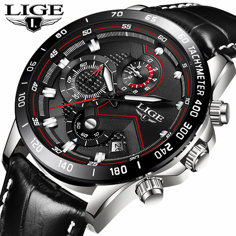 LIGE Mens Watches Top Brand Luxury Waterproof Fashion Quartz Watch Men Casual Date Leather Sport Wrist Watch Relogio Masculino 2017 fashion men watches top brand luxury function date leather sport watch male business quartz wrist watch reloj hombre