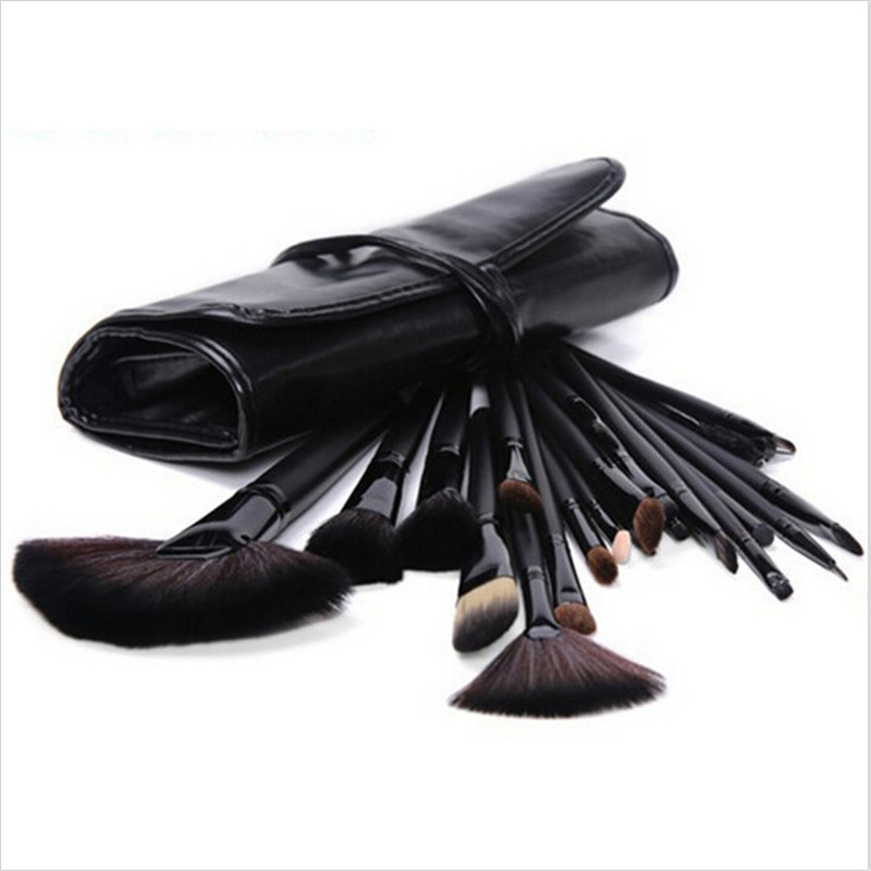 Kit De Pincel 24pcs/pack Makeup Brush Stoke black&red&wood Color Natural Wool Hair Cosmetic Kabuki Brush Set
