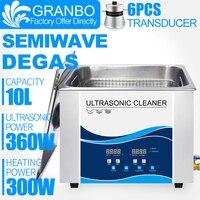 Limpiador ultrasónico DEGAS SEMIWAVE 10 litros 360 W 40 khz para herramientas de Metal clínica Dental laboratorio prueba tubo aceites las manchas bien a