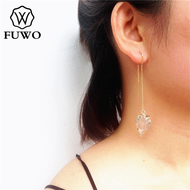 FUWO Natural Clear Quartz Earrings With 24K Gold Filled Minimalist Design Arrowhead Threader Earrings For Women