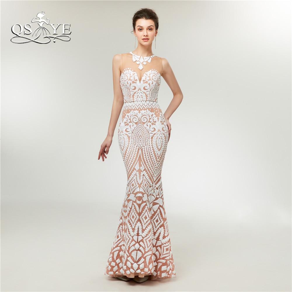 QSYYE 2018 New Arrival White Evening Dresses Elegant Transparent ...
