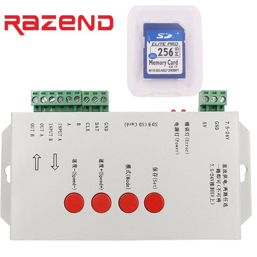 купить T1000 SD card Programmable RGB LED strip Controller Led pixel controler,support WS2801,LPD6803,WS2811,TM1804,TM1809,LPD8806,etc онлайн