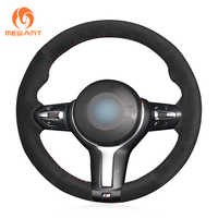 MEWANT Hand-stitched Black Suede Steering Wheel Cover for BMW M Sport F30 F31 F34 F10 F11 F07 F12 F13 F06 X3 F25 X4 F26 X2 F39