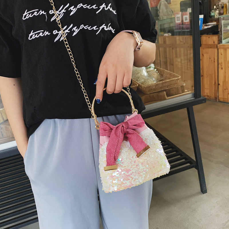 2019 New Fashion Sweet Women Waterproof Leather Shoulder Bag Sequins Bow Bucket Bag with Adjustable Metal Chain LBY20192019 New Fashion Sweet Women Waterproof Leather Shoulder Bag Sequins Bow Bucket Bag with Adjustable Metal Chain LBY2019
