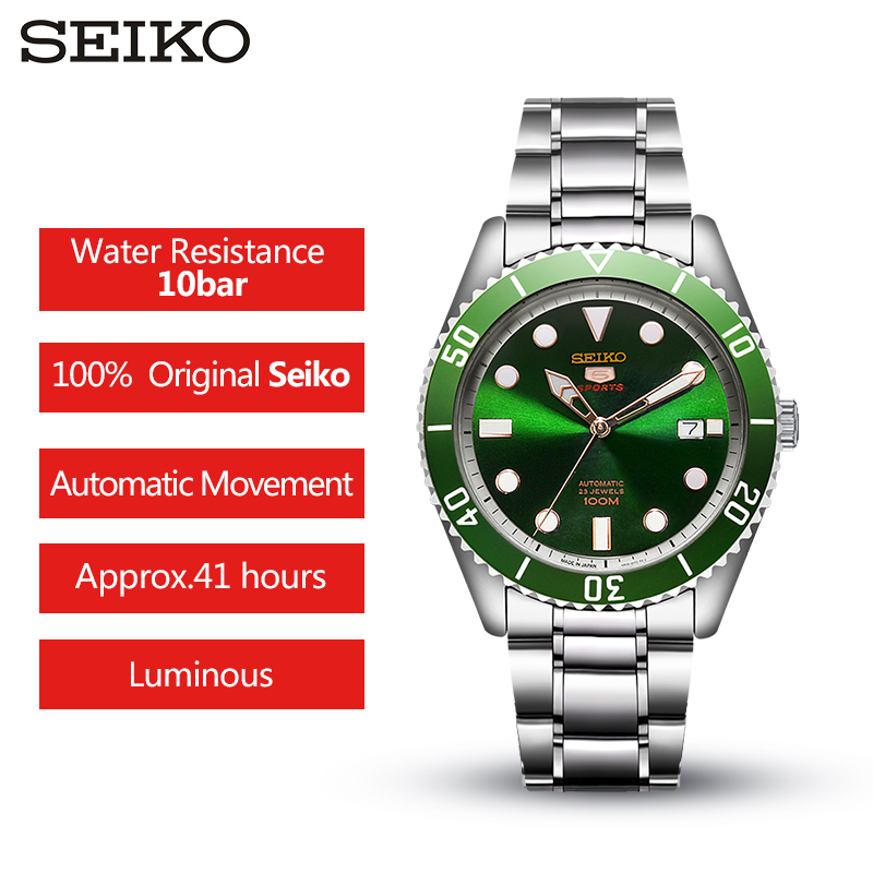 100% Original SEIKO 5  Men's Watch  Automatic Mechanical 10 Bar Water Resistant Sport watch SRPB94/91/89/93J1 Stainless Steel-in Sports Watches from Watches