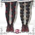 Princesa doce meia-calça lolita MU cópia do estilo Britânico escola estilo primavera e no outono 120D veludo meia-calça meia-calça grade MXY01