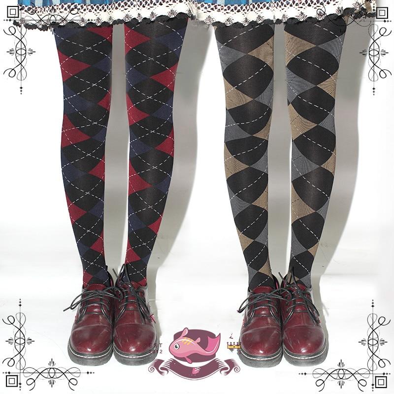 princess sweet lolita pantyhose MU British style print velvet pantyhose school style spring and autumn 120D grid pantyhose MXY01