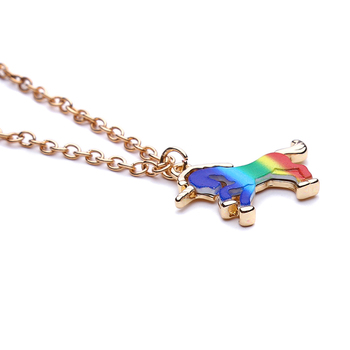 Trendy Colorful Unicorn Shape Pendant Necklace Jewelry