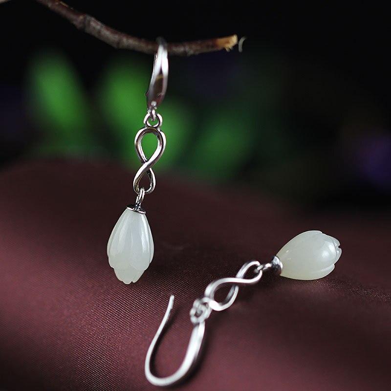 Natural Nephrite Gemstone 925 Sterling Silver Drop Earrings For Women Hand engraving Tulops&Pomegranate flowers Earrings metal hand design drop earrings