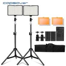 Capsaver TL 160S 2 Conjuntos de Iluminação Fotográfica LED Luz de Vídeo Camera Luz com Tripé Lâmpada De Vídeo para o Youtube Sessão de Fotos