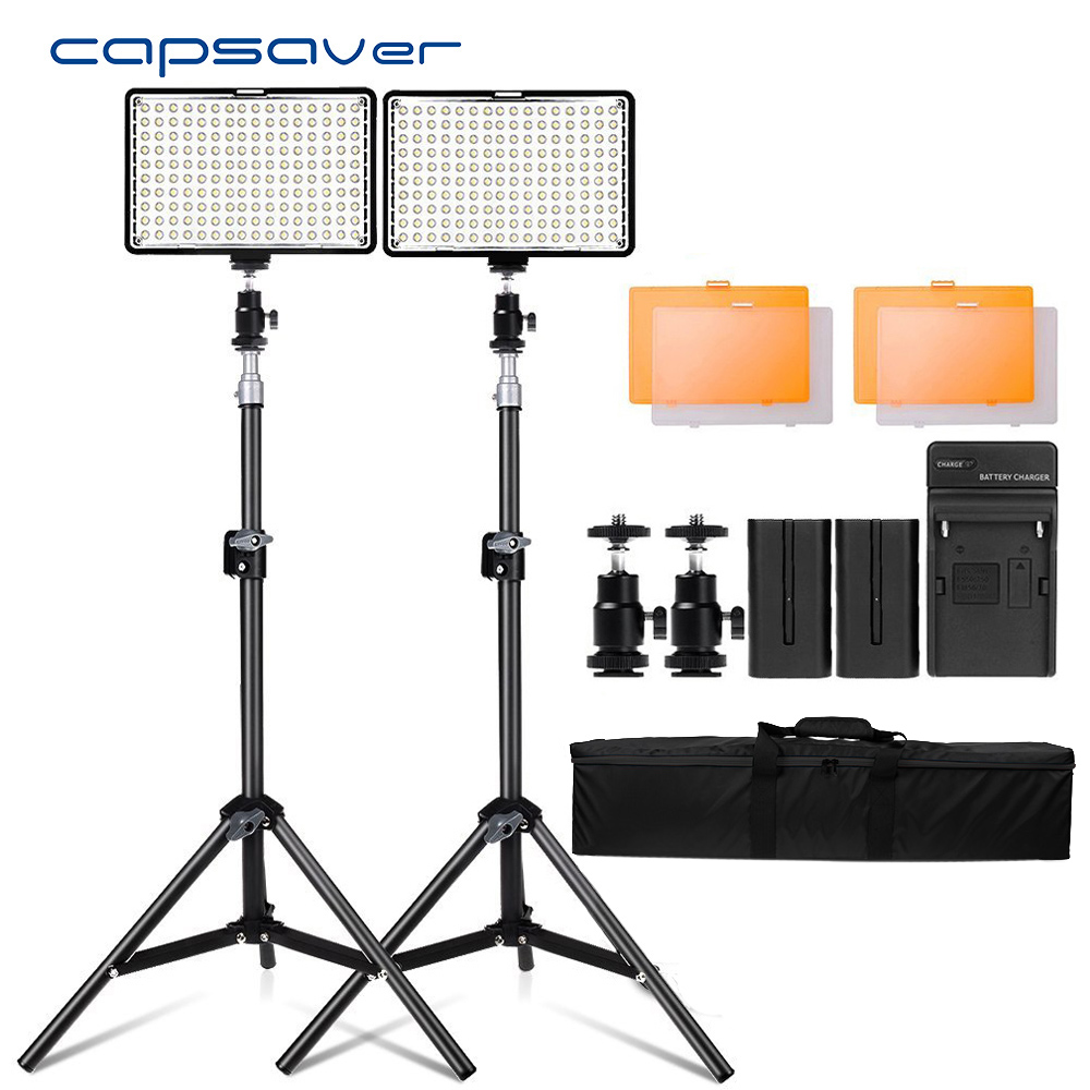 Capsaver TL-160S 2 ensembles Lumière pour La Photographie Vidéo Éclairage CRI85 Led Vidéo Lumière LED Lampe pour Studio Photo YouTube Tir