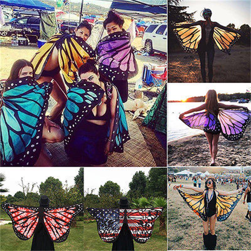 Berwarna-warni Benang Fabrik Lembut Fairy Ladies Nymph Pixie Costume Costume Womoen Beach Scarves Wraps
