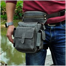 "Hot Sale Real Leather Design Male Multifunction Drop Leg Bag 8"" Pad Pouch Small Belt Messenger Bag Waist Pack For Men 913-5g(China)"