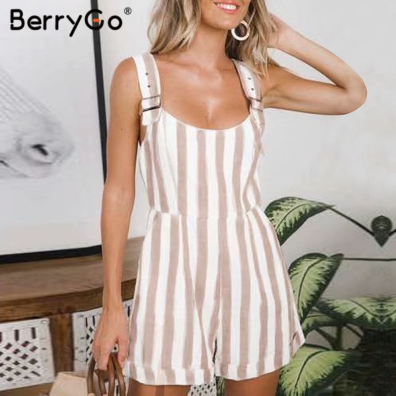 BerryGo striped women rompers playsuits Adjustable strap linen   jumpsuits   Vintage summer khaki female short overalls romper