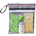Oxford Cloth Stripe Solid Color Diaper Protable Bag For Baby Nappy Storage Washable Bags With Zipper Reusable Wet Dry Waterproof