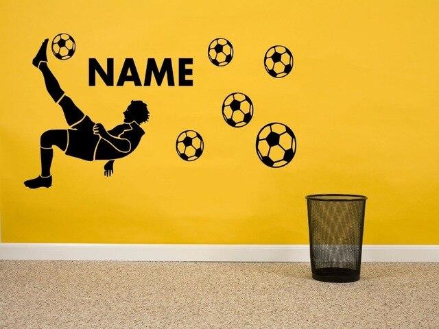 Padrão de Jogador de futebol Personalizado Crianças Personalizados Nome  Arte Decalques Da Parede do Vinil Etiqueta ba5f3679e819d