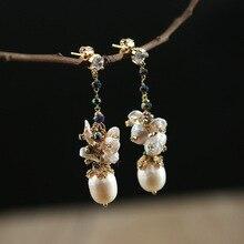 Seiko Pure Handmade Pearl Earrings Female Drilling Earrings S925 Silver Special-shaped Pearl Earrings Long Wholesale character silver product s925 pure silver jewelry fashion earrings wholesale handmade lady hetian jade earrings