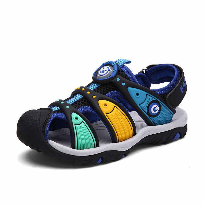حذاء للأطفال الأولاد الصنادل الصيف للأطفال الصنادل انقطاع الصنادل الاطفال قماش المطر تنفس الشقق أحذية 2-13 سنوات