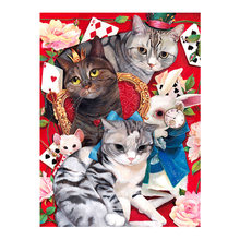 cat and Poker Diamond Painting Full Round animal New DIY Sticking Drill Cross Embroidery 5D Hotel simple Home Decoration dog and cat diamond painting full round animals new diy sticking drill cross embroidery 5d cartoon simple home decoration